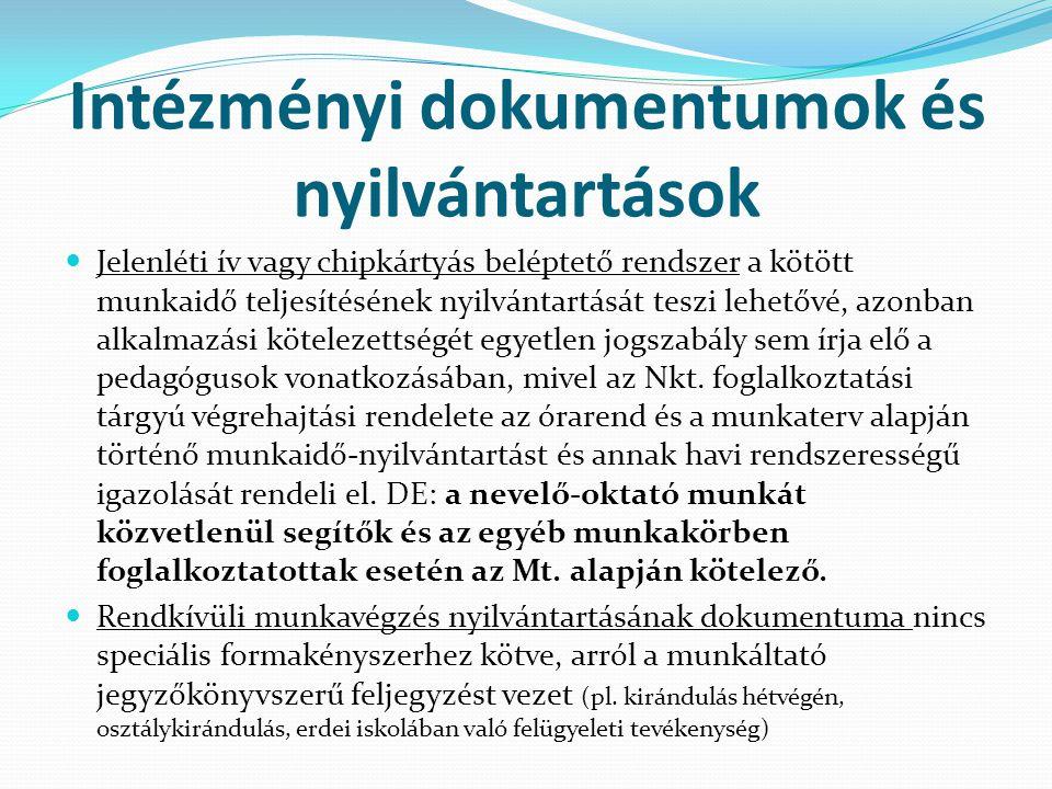 Intézményi dokumentumok és nyilvántartások  Szabadság-nyilvántartó lap, mely az alap- és pótszabadság nyilvántartására rendszeresített munkaügyi dokumentum.