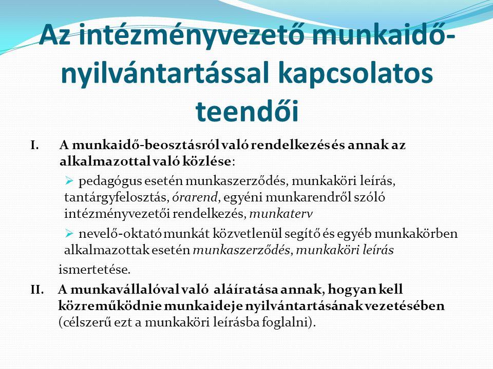 Az intézményvezető munkaidő- nyilvántartással kapcsolatos teendői III.