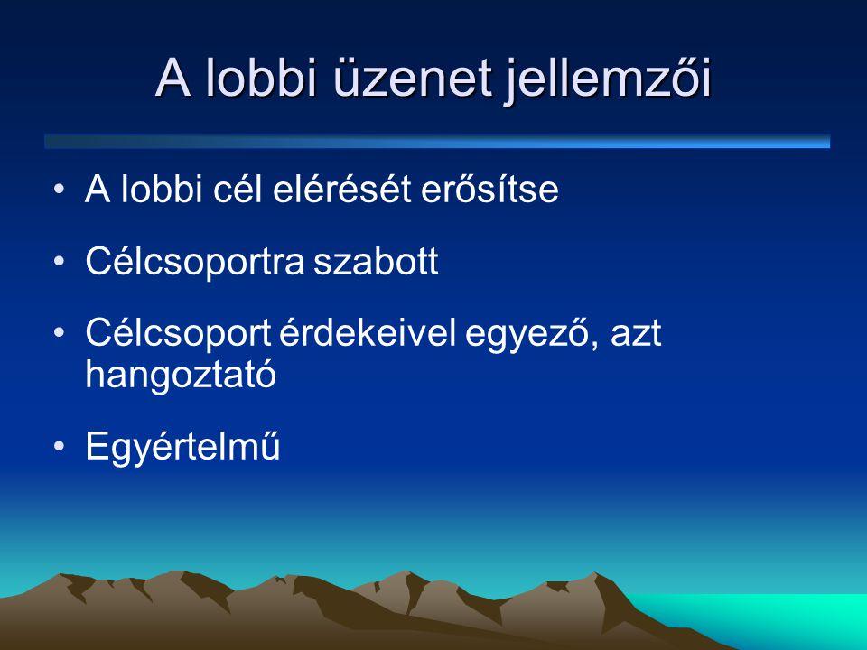 Egyértelműség •Alapvető követelmény •Akinél lobbizok, nem fogja kitalálni helyettem, hogy mit akarok •A lobbizás művészete: akinél lobbizok magáénak érzi az ügyet