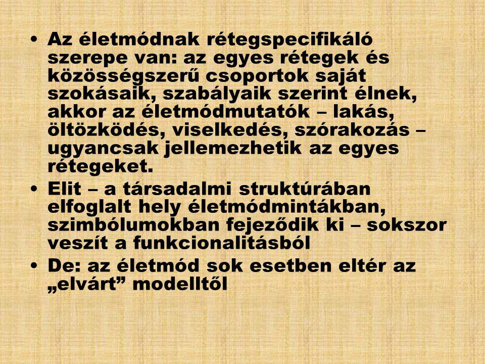 Rétegződés-vizsgálat /Bukodi, Altorjai, Tallér 2005 / •munkaerő-piaci /fogalakozási alapú megközelítés •fogyasztási vagy életstílus szerinti differenciálódás (anyagi viszonyok, szabadidő-eltöltési szokások, kulturális fogyasztás) •A kettő közötti összefüggés vizsgálata 3 okfejtés alapján: –homológiai megközelítés (előnyösebb helyzet→ magaskultúra-fogyasztás) erős a kapcsolat a munkaerő-piaci helyzettel –individualizációs megközelítés - nem a munkaerő- piaci helyzet, hanem az önmegvalósítás számít, hangsúly a szabad választáson –kulturális mindenevők vs.
