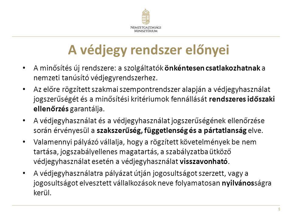 9 A szálláshelyek nemzeti tanúsító védjegy rendszere Működő nemzeti védjegyek: • Falusi szálláshely • Vendégszoba/vendégház • Kemping • Üdülőháztelep • Szálloda (Hotelstars) A nemzeti tanúsító védjegyek tulajdonosa: a Magyar Állam (joggyakorló az NGM) A védjegyrendszer működtetése: a szakmai szervezetek látják el a rendszer operatív működtetését, adminisztratív feladatait (honlap, tájékoztatás, minősítési kérelmek kezelése, helyszíni ellenőrzés, stb.) A minősítési döntés: a bíráló bizottság (NGM, szakmai szervezet képviselői) javaslata alapján a turizmusért felelős miniszter