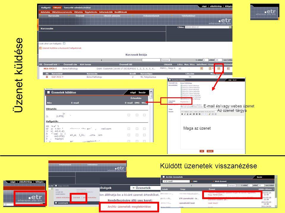 Üzenetek hallgatóknak Coospace-ben: -egy hallgatónak (egyéni üzenet): Keresés – Felhasználók között - képre kattint - bal oldali menü: Üzenet Az üzenetküldéshez a címzettnek egyszer regisztrálnia kell az üzenetküldő rendszerben.