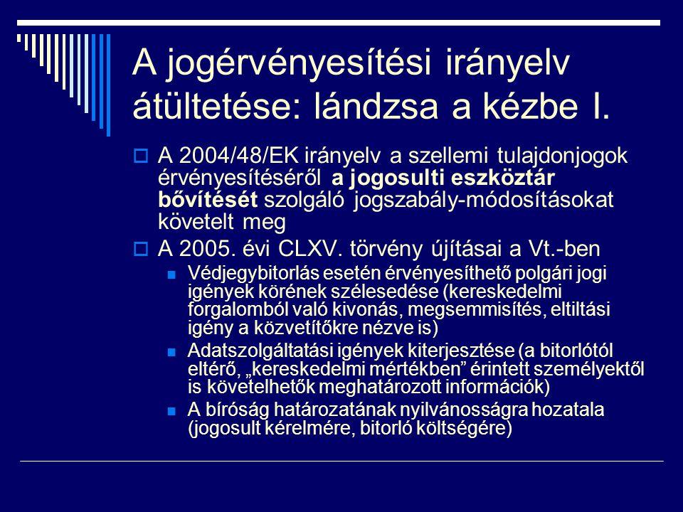A jogérvényesítési irányelv átültetése: lándzsa a kézbe II.