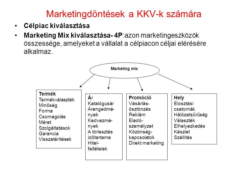 •Szolgáltatások: 7P –Termék (Product) –Ár (Price) –Hely/Disztribúció(Place) –Promóció (Promotion) –Emberi tényező (People) – Folyamat (Process) –Tárgyi elemek (Phisical evidences)