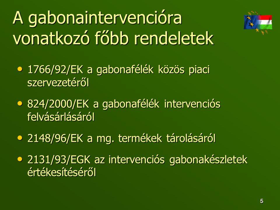 6 A gabonaintervenció nemzeti szabályozása • 2003.