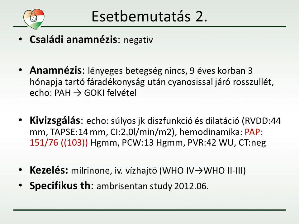Follow up • 3 hónap ambrisentan kezelés -– relativ stabil klinikai állapot után (WHO II-III) ismételt dekompenzáció+cyanosis (FoA) • Hármas terápia – iv.