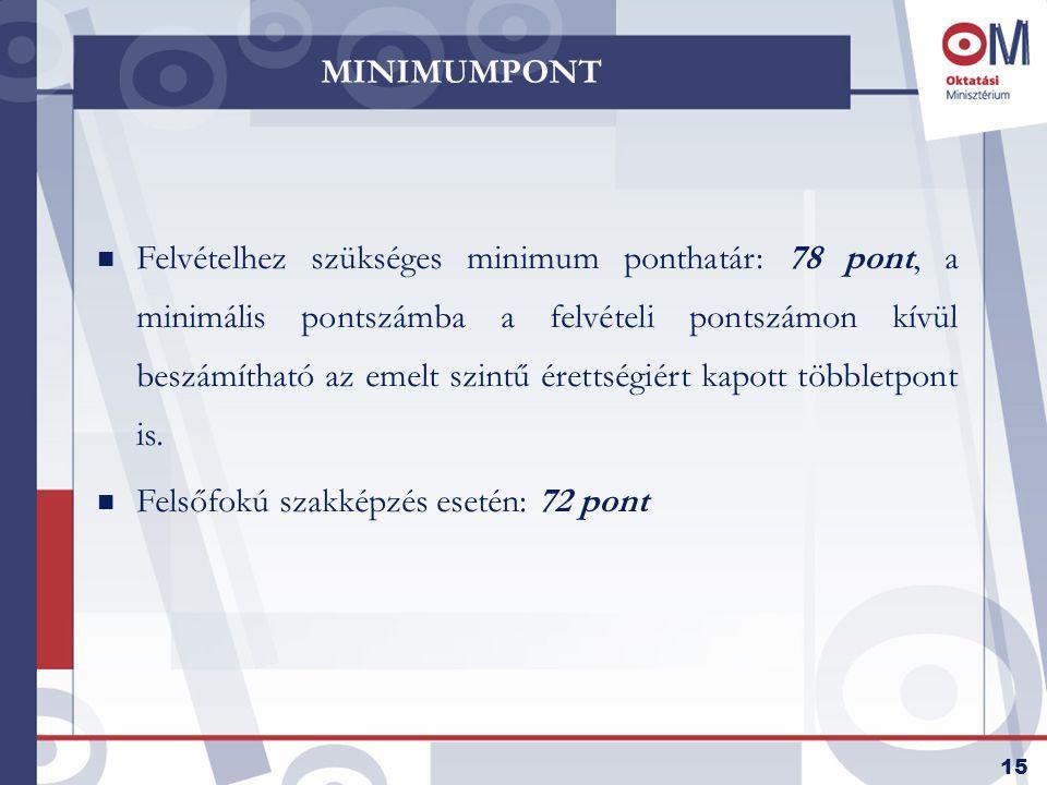 16 PONTSZÁMÍTÁS n Változások 2006-ban:  többletpontok,  tanulmányi versenyen elért eredmények,  minimum ponthatár, n Változások 2008-tól  kötelező két érettségi alapján számolni a szerzett pontot,  nyelvvizsgáért járó pontok maximalizálása, 10 pont kapható,