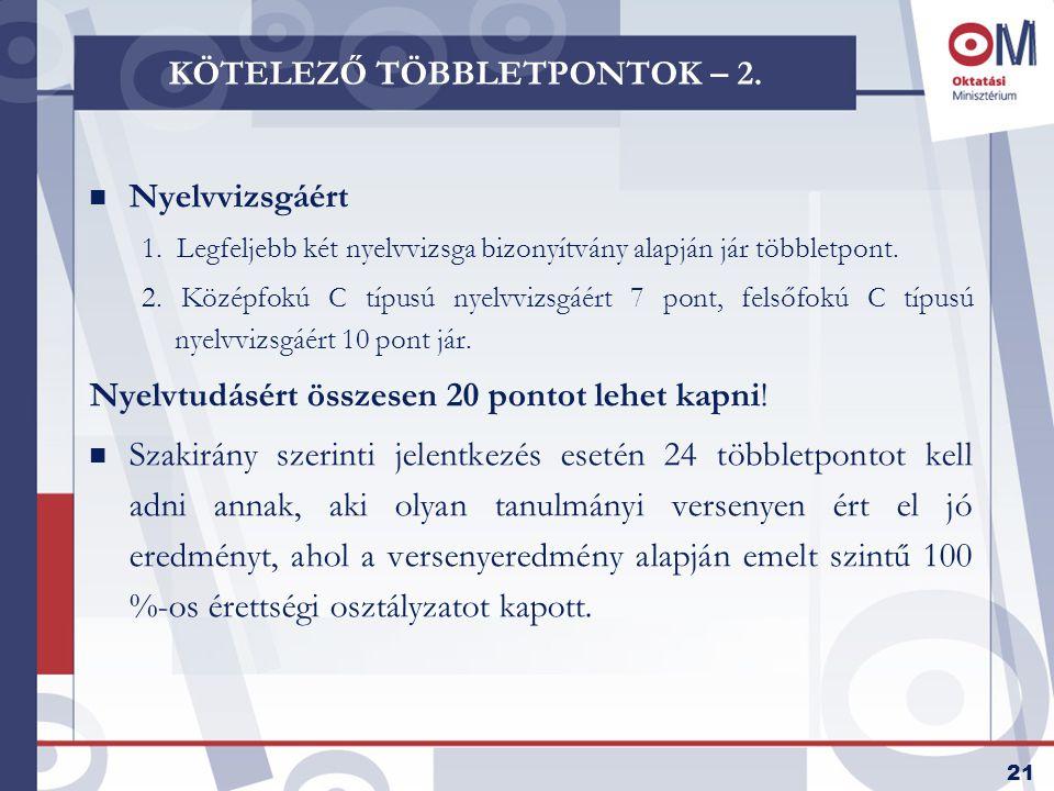 22 NÉHÁNY FONTOS ADAT A LEGTÖBB HALLGATÓT FELVETT INTÉZMÉNYEK KÖRÉBŐL INTÉZMÉNYFelvett Jelentkezési sorszám Régen érettségizett Emelt szintű többletpont Eötvös Loránd Tudományegyetem42492,5130,82%56,31% Szegedi Tudományegyetem35932,5927,31%34,17% Pécsi Tudományegyetem33882,5731,41%24,52% Debreceni Egyetem32762,5623,18%27,62% Budapesti Műszaki és Gazdaságtudományi Egyetem26982,1114,60%75,38% Budapesti Gazdasági Főiskola24702,7736,07%35,02% Budapesti Műszaki Főiskola21572,4041,45%10,24% Budapesti Corvinus Egyetem17342,5221,51%78,60% Miskolci Egyetem17232,6126,98%12,65% Széchenyi István Egyetem16602,5126,04%10,00% Veszprémi Egyetem15982,6130,03%14,83% Szent István Egyetem13352,5733,18%24,41% Nyíregyházi Főiskola13162,7032,20%4,93% Nyugat-Magyarországi Egyetem11962,3530,93%8,61% Pázmány Péter Katolikus Egyetem9602,7726,63%58,75% Semmelweis Egyetem9502,1726,25%72,00%