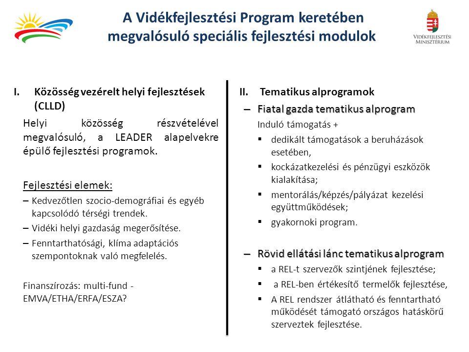 CLLD (Community-led Local Development ) Közösségvezérelt Helyi Fejlesztés CLLD, a jelenlegi LEADER koncepció kiterjesztése LEADER (CLLD) Alulról felfelé építkezés A helyi akciócsoportok helyi fejlesztési stratégiák kidolgozására és megvalósítására vonatkozó döntéshozatali hatáskörével Területalapú megközelítés Jól azonosított, szubregionális vidéki területekre irányuló területalapú, helyi fejlesztési stratégiák Partnerség Helyi köz-és magánszférabeli partnerségek, vagyis helyi akciócsoportok Integrált megközelítés A stratégia több szektorra kiterjedő tervezése és végrehajtása, a helyi gazdaság különböző ágazatainak szereplői és projektjei közötti kölcsönhatáson alapulva Hálózatépítés A helyi akciócsoportok közötti hálózatok Innovativitás Innovatív megközelítések végrehajtása Együttműködésre irányuló projektek