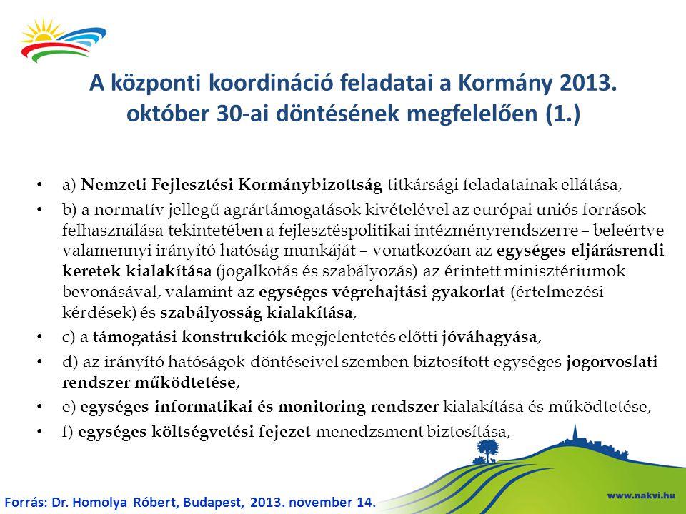• g) projekt és program értékelési rendszer központi kialakítása és működtetése, • h) az európai uniós források felhasználásához kötődő partnerségi egyeztetési folyamatok és kommunikációs tevékenységek egységes koordinálása, • i) egységes humánerőforrás menedzsment (különösen a javadalmazási, a motivációs és képzési rendszer) kialakítása és működtetése, • j) az európai uniós forrásokból megvalósuló közbeszerzési eljárások ellenőrzése, • k) a Koordinációs Operatív Program működtetése, • l) az egyes operatív programok végrehajtására vonatkozó ellenőrzések, auditok koordinációja, • m) európai uniós és nemzetközi szervezetekkel való kapcsolattartás, A központi koordináció feladatai a Kormány 2013.