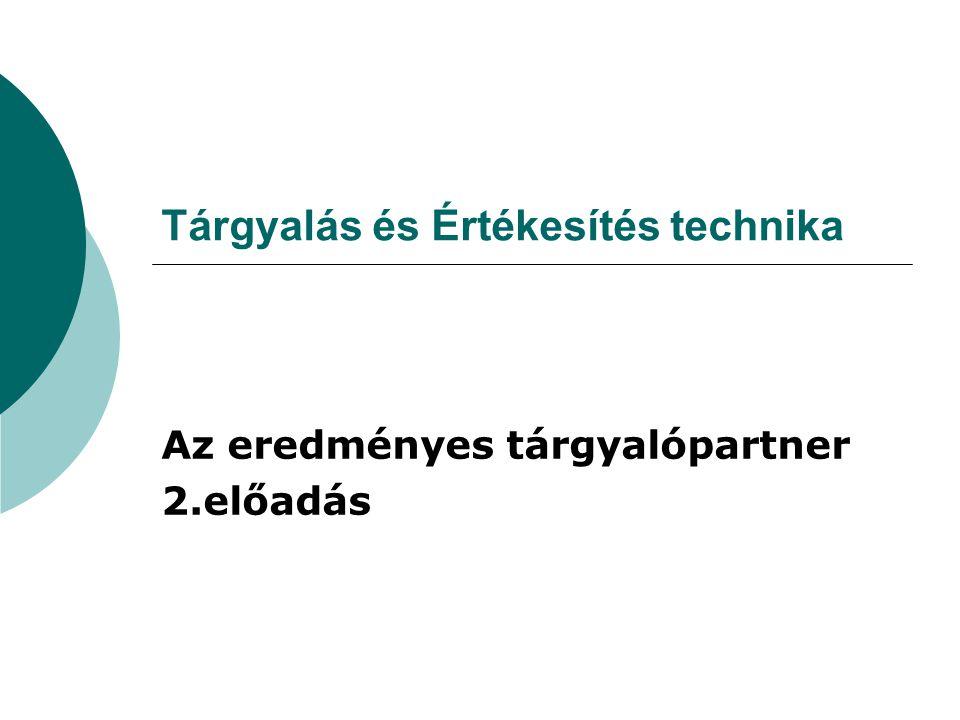 Tárgyalás és Értékesítés technika Az eredményes tárgyalópartner 2.előadás