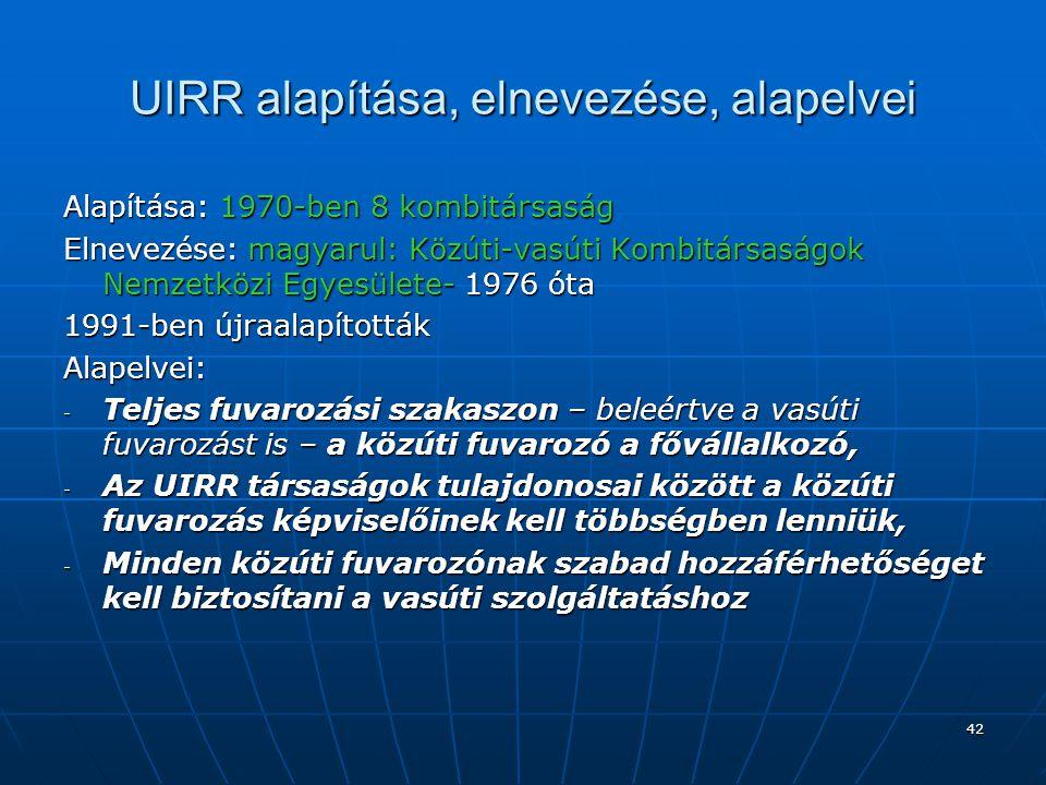 43 UIRR célja, feladatai Fő célkitűzés: a tagtársaságok együttműködésének koordinációja Feladatai:  PR tevékenység a kombinált fuvarozás vonatkozásában,  Állásfoglalások és javaslatok készítése közlekedéspolitikai témában,  Tanulmányok készítése,  Szolgáltatások nyújtása és támogató intézkedések a tagtársaságok részére