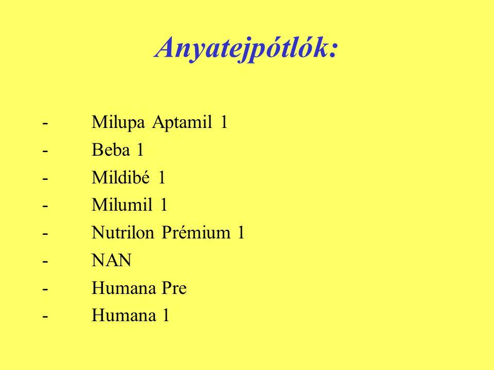 Elválasztó tápszerek: - Milupa Aptamil 2 - Beba 2 - Mildibé 2 - Milumil 2 - Nutrilon Plus 2 - NAN 2 Bifidusszal - Humana 2 - Beba 2 Bifidusszal -