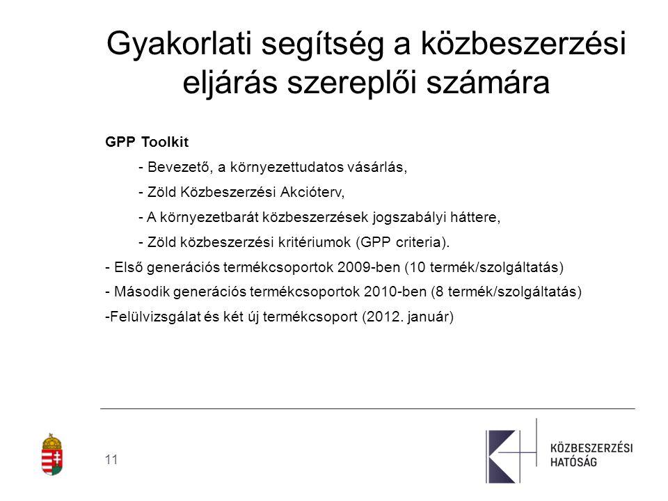 """12 Best Practices - Európai Bizottság """"Zöld közbeszerzés."""
