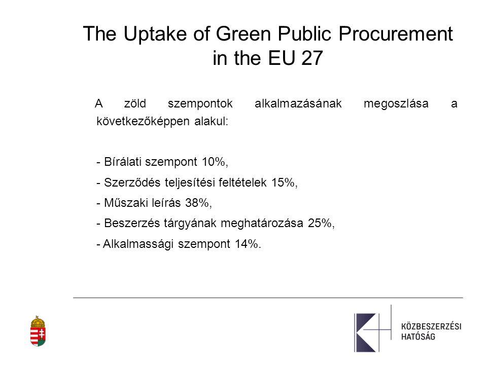 Következtetések - A zöld közbeszerzési szempontok elterjedése a 27 tagállamban általánosságban jelentős.