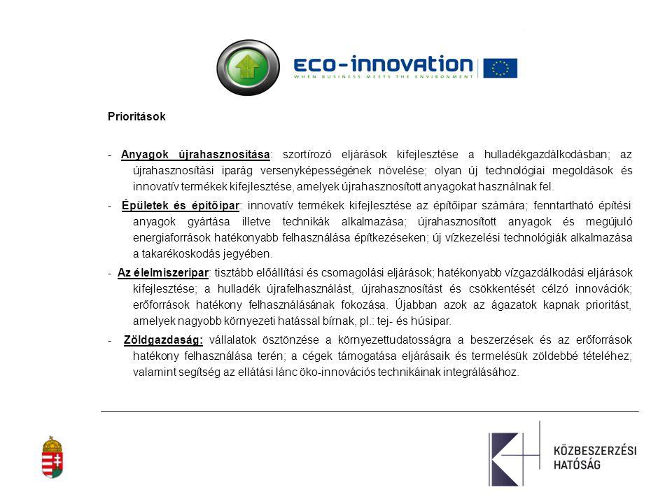 Cél - Támogatni az úttörő pályázatokat, és a piacokat, hogy alkalmazzák az innovatív technológiákat és gyakorlatokat; -Segíteni áthidalni a szakadékot a kutatás-fejlesztés és az üzleti világ szereplői között; valamint -Segíteni leküzdeni a még fennálló piaci akadályokat, melyek jelenleg meggátolják az ökoinnovatív -Termékek és szolgáltatások sikerét, különös tekintettel azokra, amelyekkel az európai kis- és középvállalkozások (kkv-k) találják szembe magukat.
