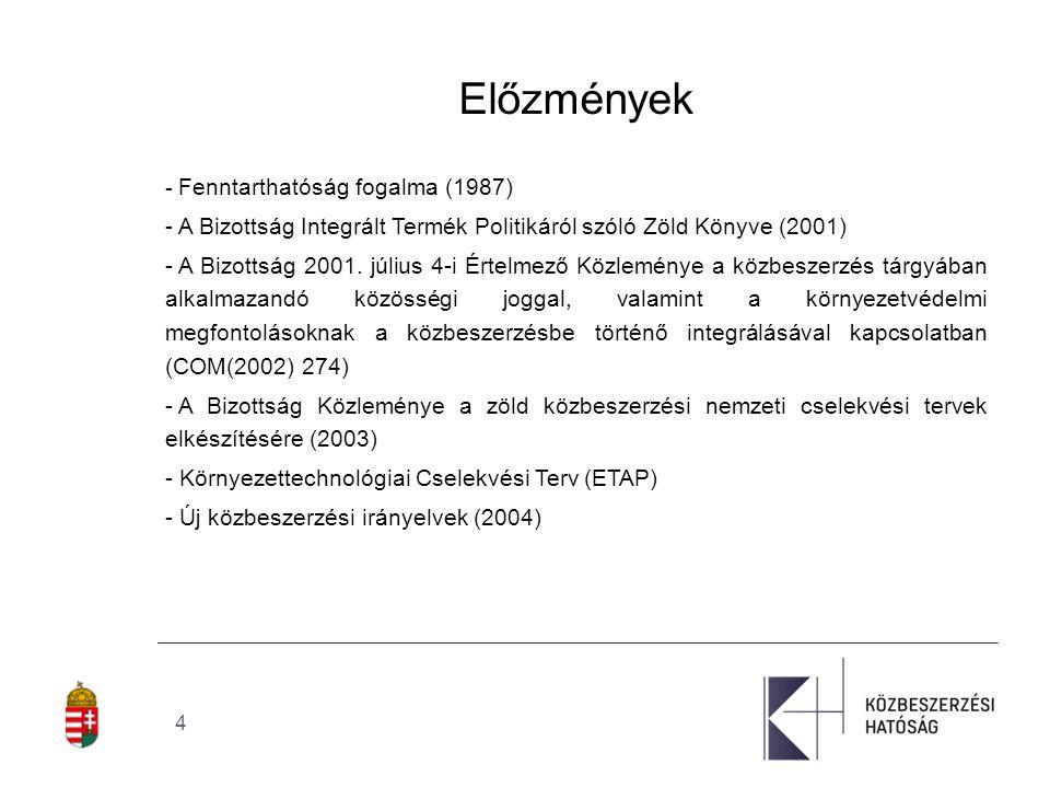 """5 Előzmények - A Bizottság """"Zöld közbeszerzés."""