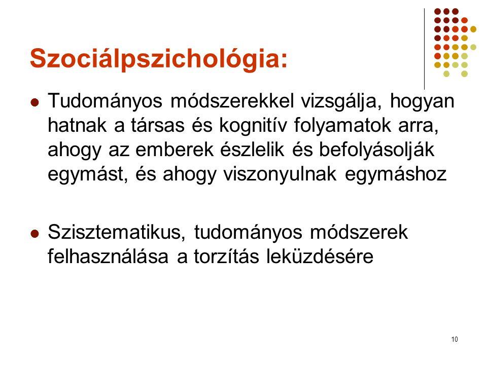 11 A szociálpszichológia kialakulása  Pszichológiai nézőpontok a társas viselkedés magyarázatában  Pszichoanalízis: az én és a társadalom  Behaviorizmus: a viselkedés elsődleges és közvetlenül tanulmányozható  Kognitív megközelítés: az értelmezés az inger és a válasz közé ékelődik, utóbbi fontos meghatározója (gondolkodás és érzelmek szerepe a társas viselkedésben)