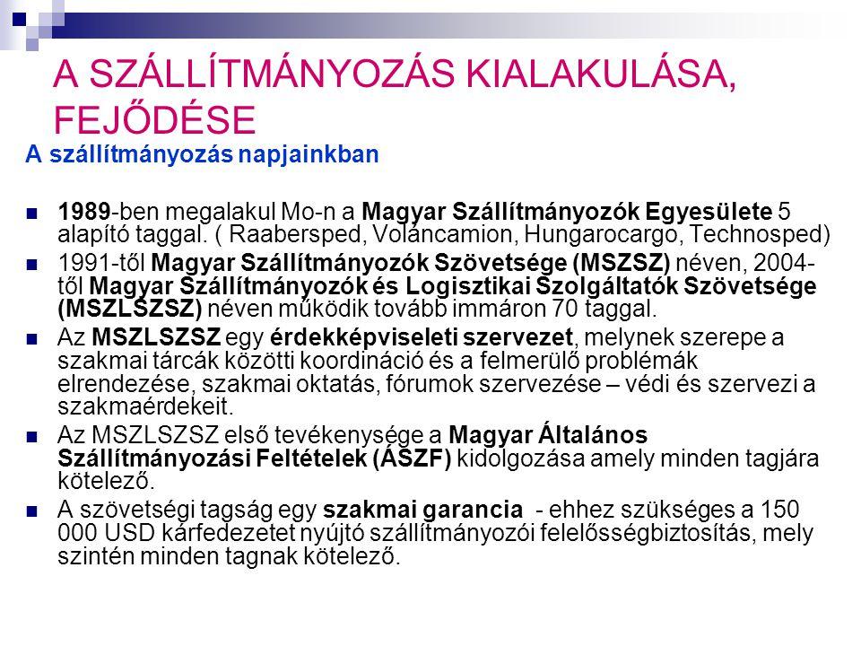 A SZÁLLÍTMÁNYOZÁS KIALAKULÁSA, FEJLŐDÉSE A szállítmányozás napjainkban Magyar Általános Szállítmányozási Feltételek 1.