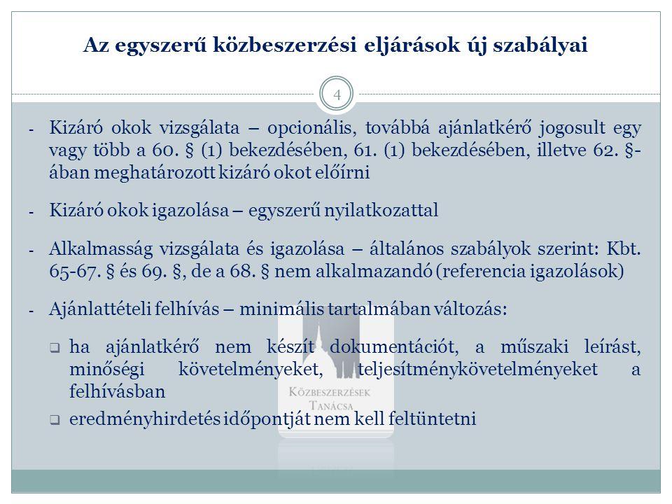 Az egyszerű közbeszerzési eljárások új szabályai 2.