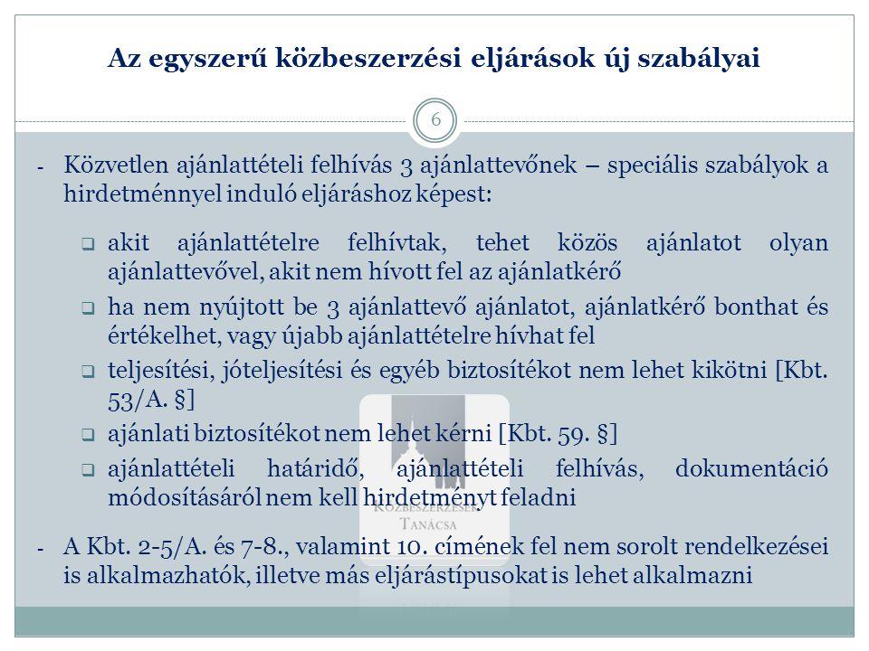 Az egyszerű közbeszerzési eljárások új szabályai 3.
