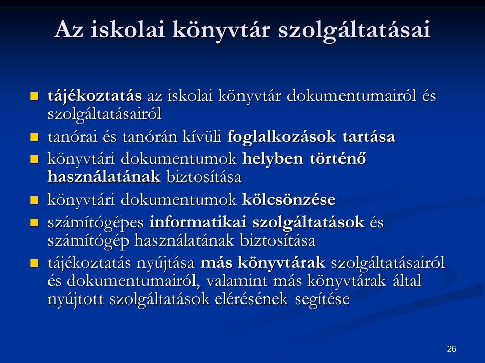 """27  """"Kiemelendőnek és jó gyakorlatként terjesztésre érdemesnek találom, hogy az SzMSz a nevelők szakmai munka-közösségeinek felsorolásából nem hagyja ki a könyvtárostanárokat: a magyar munkaközösség tagjai között említi - a magyar szakos kollégák mellett - mint odatartozókat, a könyvtár szakos tanárokat is."""