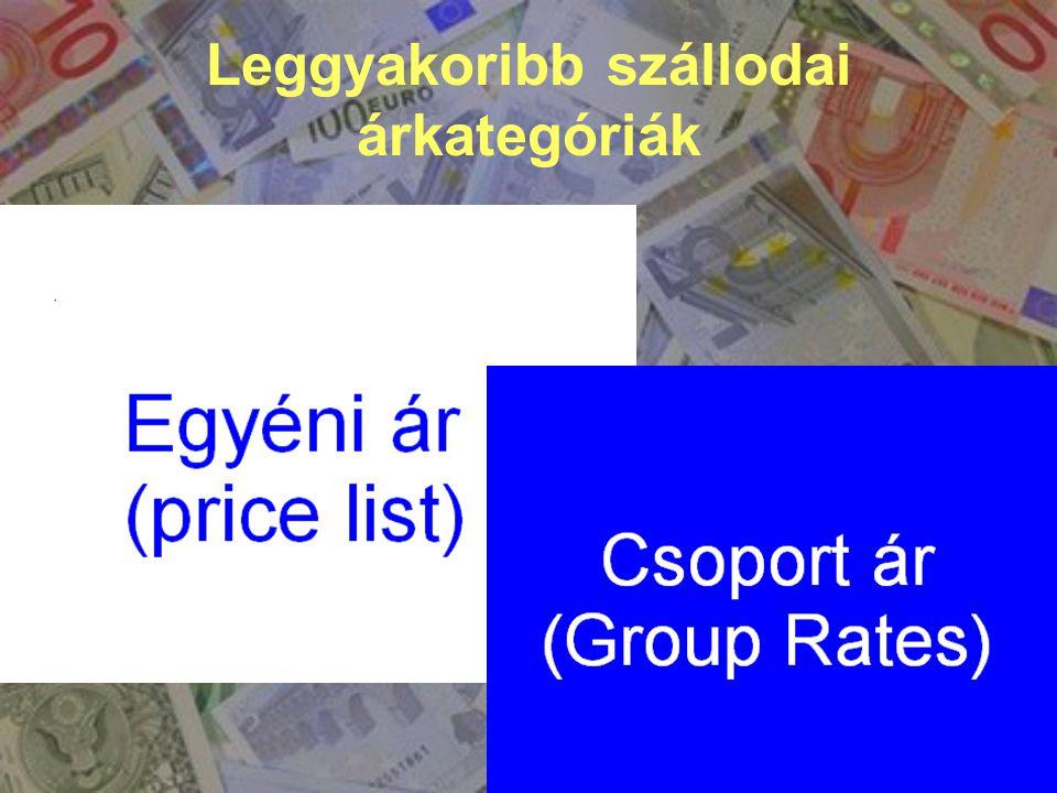 1.Napi szobaár (Rack Rate) 2. Speciális, egyéni/kedvezményes ár 3.