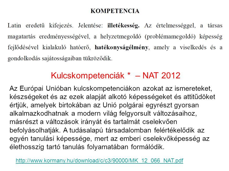 Kulcskompetenciák * – NAT 2012 ◦ Anyanyelvi kommunikáció ◦ Idegen nyelvi kommunikáció ◦ Matematikai kompetencia ◦ Természettudományos és technikai kompetencia ◦ Digitális kompetencia ◦ Szociális és állampolgári kompetencia ◦ Kezdeményezőképesség és vállalkozói kompetencia ◦ Esztétikai – művészeti tudatosság és kifejezőkészség ◦ A hatékony, önálló tanulás ◦ (Kissé mások, mint NAT 2006-ban) * Az Európai Parlament és a Tanács ajánlása az egész életen át tartó tanuláshoz szükséges kulcskompetenciákról, 2006.