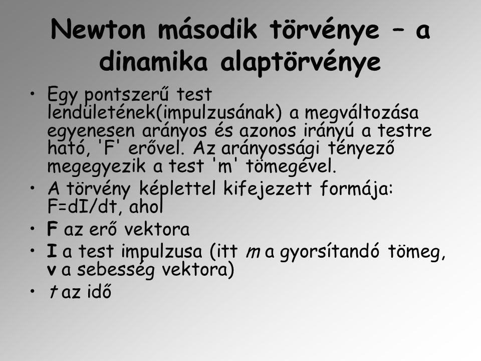 Newton harmadik törvénye – a hatás-ellenhatás törvénye Két test kölcsönhatása során mindkét testre azonos nagyságú, egymással ellentétes irányú erő hat.