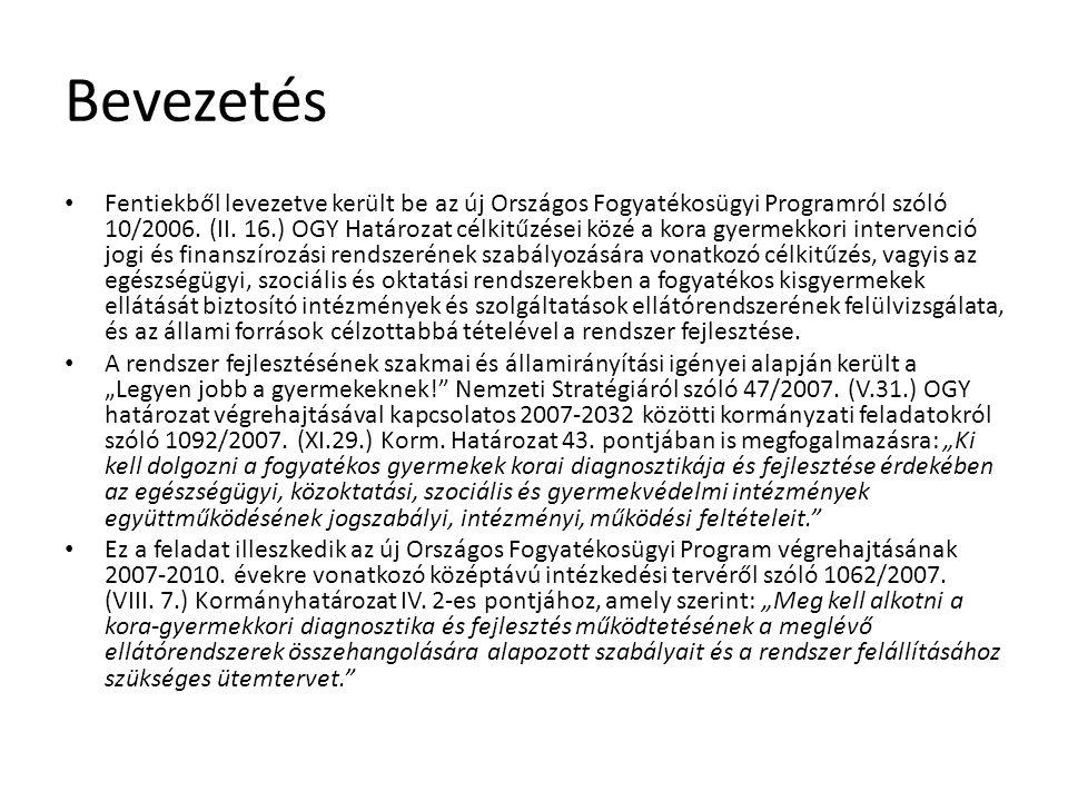 Evidencia alapú tervezés Fodor, Kemény (2005): Értékelemzési zárójelentés a korai fejlesztés koncepciójának kialakításáról, SZMM kézirat Kereki, Lannert (2009): A korai intervenciós intézményrendszer hazai működése, TÁRKI-TUDOK Zrt.