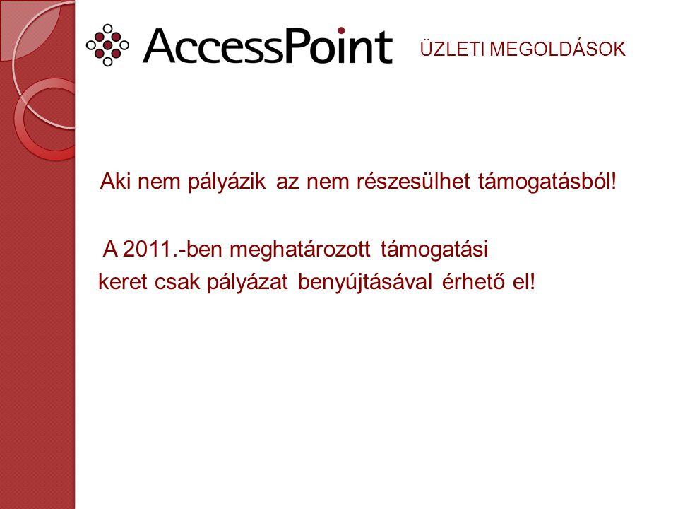 ÜZLETI MEGOLDÁSOK 2011.-ben 2000 Milliárd Ft kerül kiosztásra A mai napig 980 db pályázat került beadásra ebből 347 db-ot elbíráltak Minden kiírás pályázható, a keretek biztosítottak