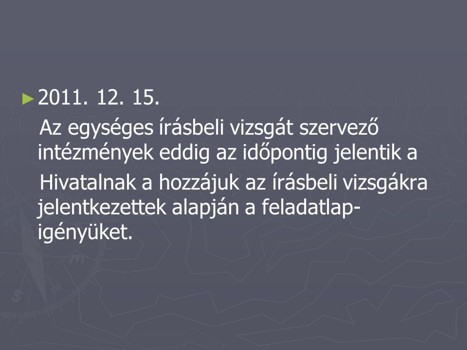 ► ► 2012.01. 20. Az általános felvételi eljárás kezdete.