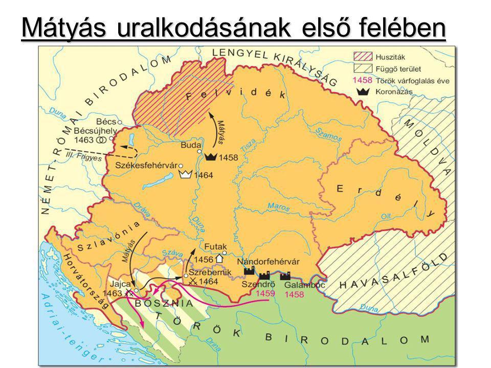 Mátyás bel- és külpolitikai törekvései céljacélja az alkalmasság bizonyítása Szilágyi Mihályt eltávolítja az udvartól Ezért a török ellen kell harcolnia: 1463: Jajca várát elfogalta Habsburg III.