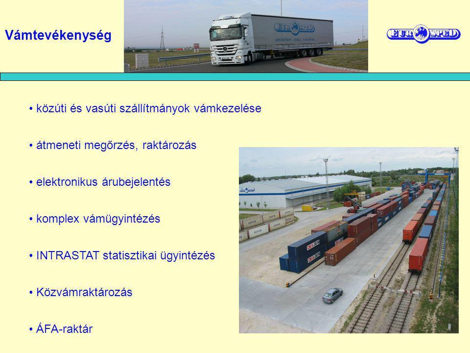 a BILK Kombiterminál mellett vámügynöki iroda konténerek vámkezelése közúti és vasúti szállítmányok vámkezelése T-okmány indítása, egyszerűsített eljárásban is garancianyújtással Vámszolgáltatásaink BILK – Budapest Intermodális Logisztikai Központban: Vámtevékenység Elektronikus import-export vámkezelés elektronikus árubejelentés INTRASTAT statisztikai jelentés készítése komplex vámügyintézés