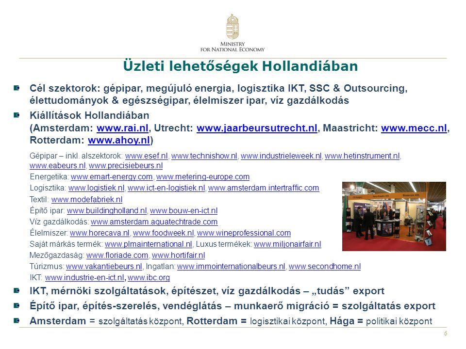 7 Gazdasági kapcsolatok Hollandiában Helyi kamarák: Rotterdam, Hága, Eindhoven, Venlo, Groningen, stb.