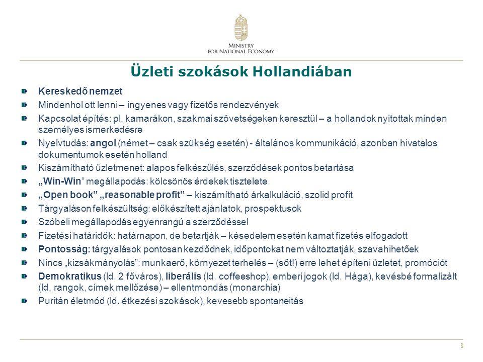 9 Holland – Magyar kapcsolatrendszer Hollandiában: Magyarország Hágai Nagykövetsége: www.mfa.gov.hu/emb/haguewww.mfa.gov.hu/emb/hague Nemzetgazdasági Minisztérium képviselete: www.kormany.hu/en/ministry-for-national-economy és Nemzeti Külgazdasági Hivatal (HITA) www.hita.huwww.kormany.hu/en/ministry-for-national-economywww.hita.hu Hungarian Business Network (HBN) www.huchamber.nlwww.huchamber.nl Évente 4-5 rendezvény (szemináriumok, networking) Üzleti kapcsolatok támogatása Újságok, on-line újságok holland nyelven: www.inzaken.eu, Hongarije Vandaag, Most Magyarulwww.inzaken.eu Magyarországon: Holland Királyság Budapesti Nagykövetsége: www.hollandnagykovetseg.huwww.hollandnagykovetseg.hu Holland - Magyar Kereskedelmi Kamara: www.dutcham.huwww.dutcham.hu Egyéb partnerek Hollandiában Kamarák: www.kvk.nlwww.kvk.nl Kereskedelem fejlesztés: www.evd.nl, www.agentschapnl.nlwww.evd.nlwww.agentschapnl.nl Magyar Túrizmus ZRt: www.hongaarsverkeersbureau.nlwww.hongaarsverkeersbureau.nl Hollandiai Magyarok Szövetsége: www.federatio.orgwww.federatio.org PortAgora: www.portagora.euwww.portagora.eu Szolgáltató vállalkozások: Holland - Magyar tanácsadó cégek, ügyvédek, munkaerő közvetítők, tolmácsok, stb..