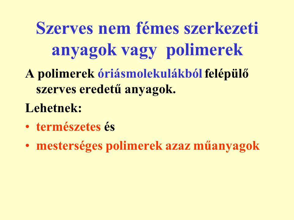 Természetes eredetű polimerek A természetes eredetű polimerek olyan kémiai vegyületekből állnak, melyeket organizmusok állítanak elő.