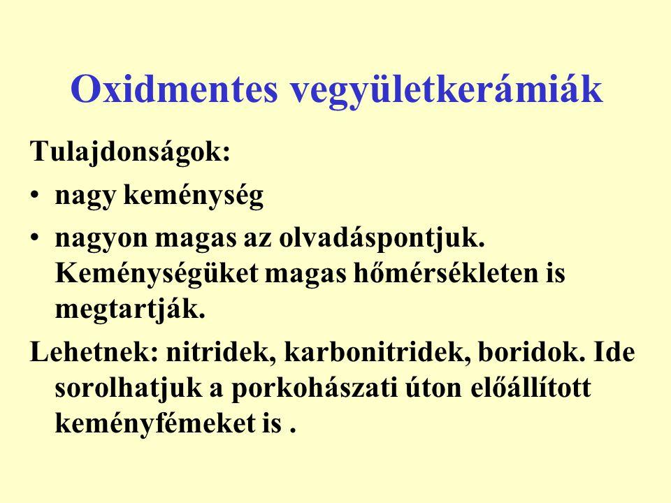 Oxidmentes vegyületkerámiák Felhasználás: szerszámanyagokként pl.