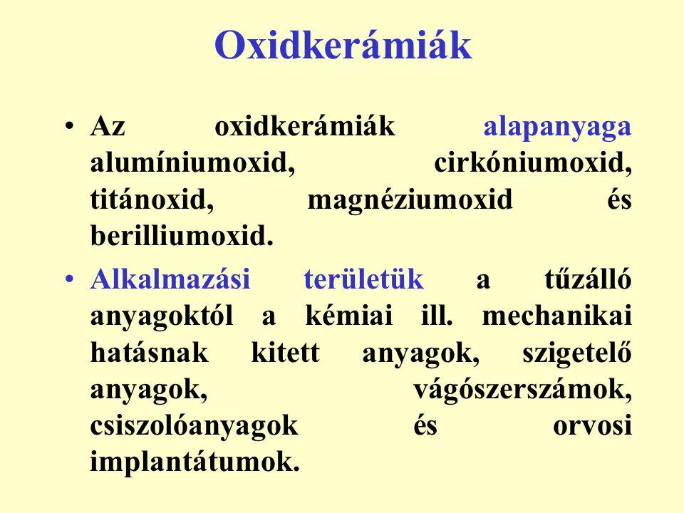Műszaki oxidkerámiák A szinterezett műszaki oxidkerámiák négy csoportba oszthatók:  Alumíniumoxid vagy műkorund (Al 2 O 3 ).