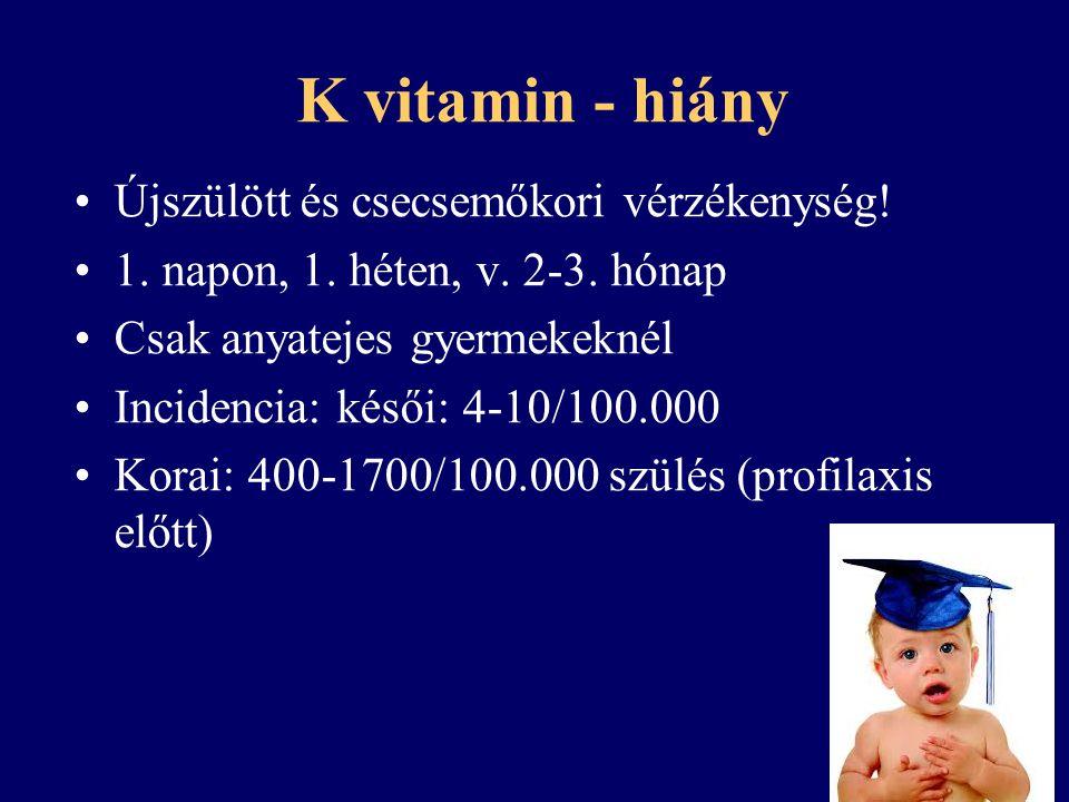 K vitamin - túladagolás Toxicitása minimális Véralvadásgátló hatást fokozza Hemolízis, icterus, anemia
