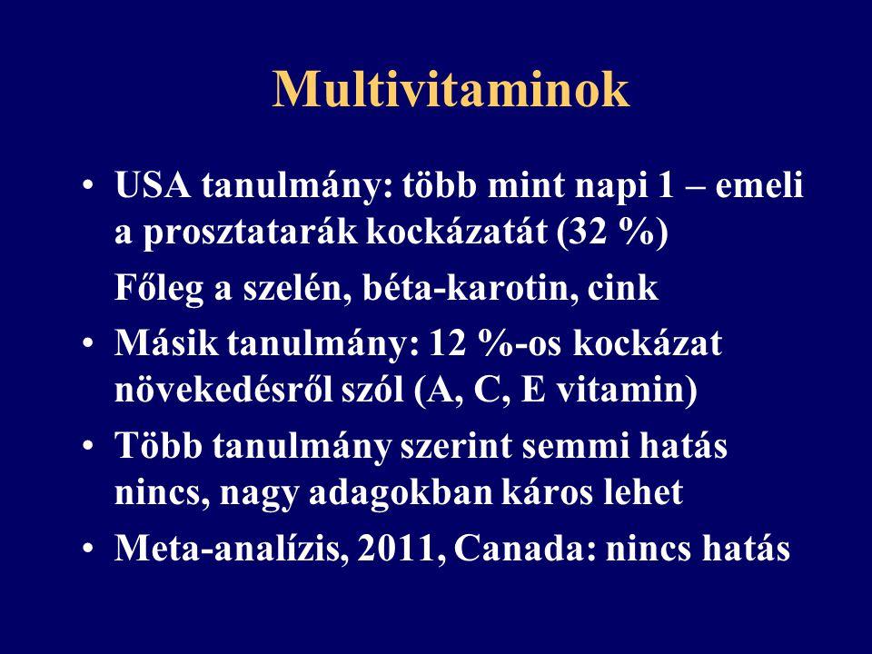 Multivitaminok 2011-es USA tanulmány: talán csökkenti a hematológiai malignitások kockázatát (20 %-kal) Fokhagyma és szőlőmag kivonat – jó hatás (hematol.