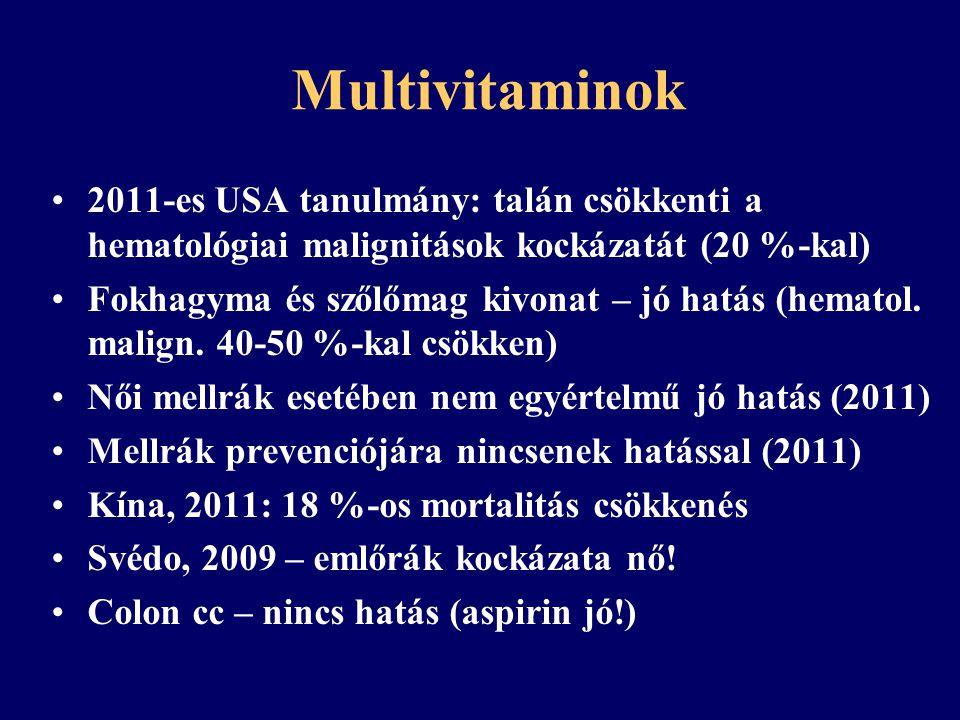 Multivitaminok Down + multivitamin: fokozott leukémia kockázat (USA, 2008) 2007, meta-analízis: prenatalis multivitamin csökkenti a gyermekkori neuroblastoma, agytumor és leukémia kockázatát (mennyiség?)