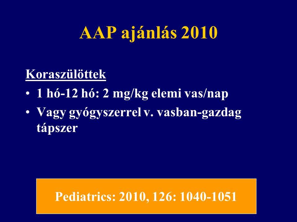 AAP ajánlás 2010 Szoptatott csecsemők 4 hónapos kortól 1 mg/kg extra vaspótlás.