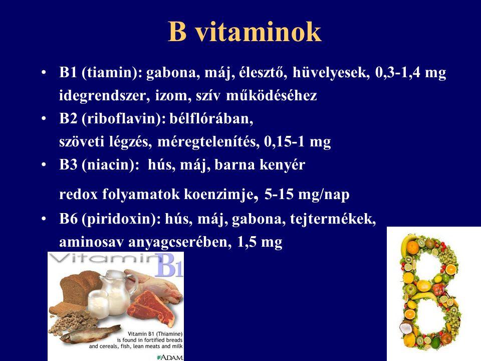 B vitaminok - hiány Tiamin hiány (beriberi): fáradtság, alvászavarok, nyugtalanság Riboflavin hiány: szemlencse elváltozás, emésztési zavar, rhagad, ízületi gyulladás Niacin hiány (pellagra): dermatitis, diarrhoea, dementia Piridoxin hiány: fekete nyelv, izomgyengeség, hajhullás, idegrsz-i zavarok