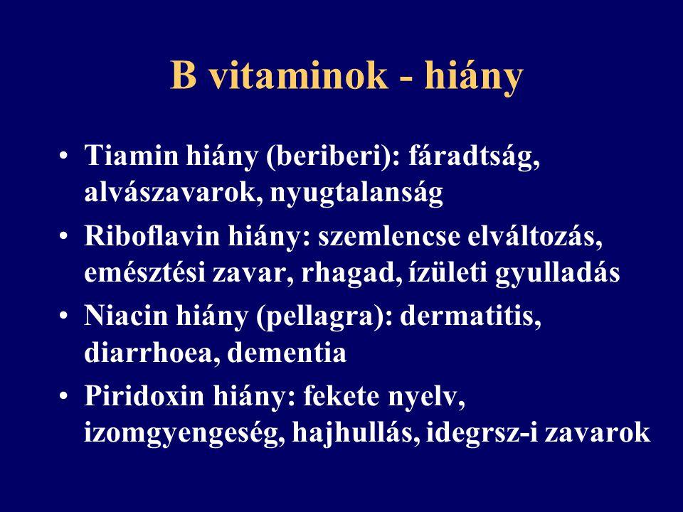 B vitaminok - túladagolás Általában túladagolás tünetekkel nem jár Esetleg: hányinger, hasmenés, bőrpír Esetleírások: felnőtt: kr.