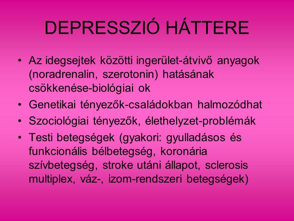 Szociológiai rizikófaktorok - depresszió Fontos veszteségek (családtag, társ,hivatás- munkahely, egészség), gyász Társas támogatás hiánya Magány Megküzdési stratégiák közül az önbüntetés és ún.