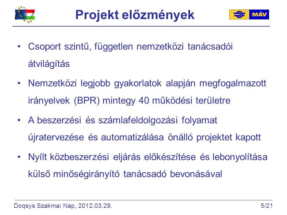 Megfogalmazott célkitűzések Központi számlabefogadás (egyetlen postafiók címre) Többszöri iktatás kiküszöbölése Többszöri adatrögzítés (hibalehetőség) megelőzése Manuális lépések automatizálása: automatikus mezőfelismerés – ICR, szállító ellenőrzés, matching workflow, ERP export Doqsys Szakmai Nap, 2012.03.29.