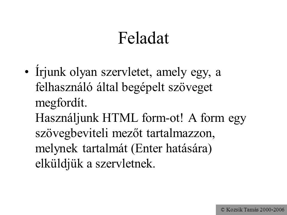 © Kozsik Tamás 2000-2006 A HTML form Hi <form action = http://localhost:8080/servlet/Fordit method = post> Szöveg: