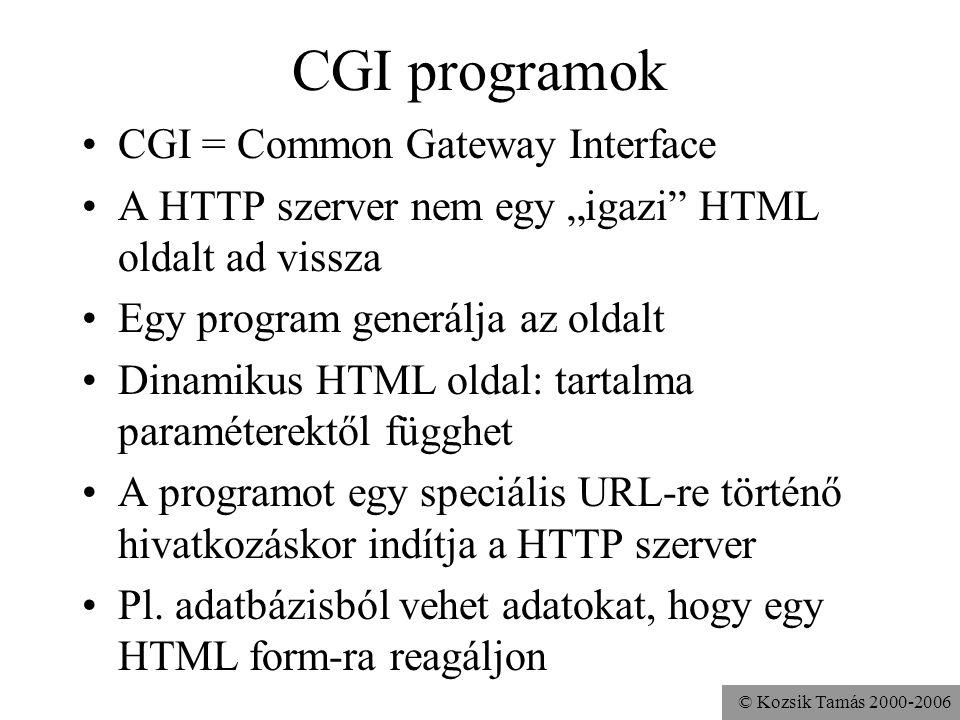 © Kozsik Tamás 2000-2006 Ugyanez Java-ban: szervletekkel A HTTP szerverbe be van integrálva egy Java Virtuális Gép Ez tud szervleteket futtatni, amikor erre igény van Egy speciális (szervletet azonosító) URL-re történő hivatkozáskor a szervlet állítja elő a HTTP szerver válaszát