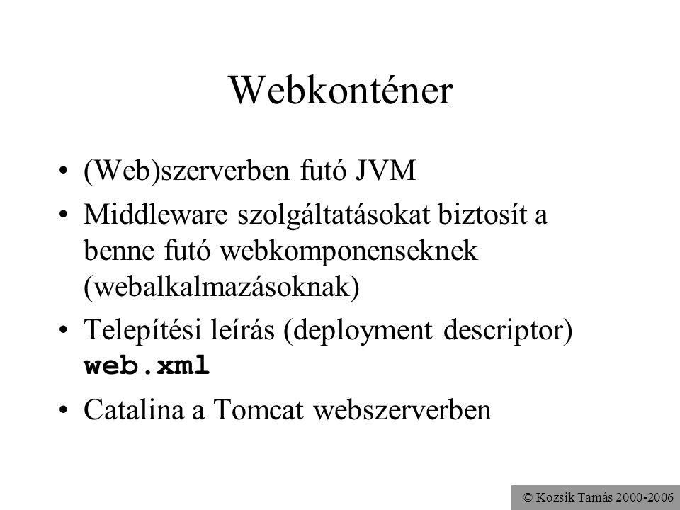 © Kozsik Tamás 2000-2006 Web Archive war kiterjesztésű fájl Ugyanolyan zip fájl, mint egy jar, csak éppen webalkalmazást vagy webkomponenst tartalmaz A jar paranccsal készíthetjük el jar cvf../haliho.war *